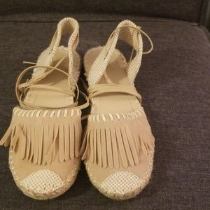 Tan  Betani moccasin sandals, wrap around ankle